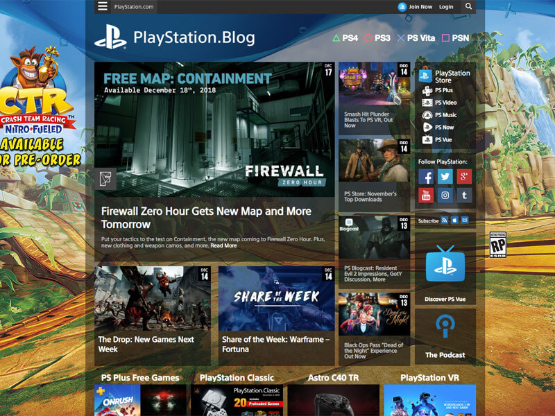screenshot of playstations wordpress site.