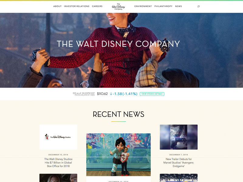 screenshot of Walt Disneys company's wordpress site