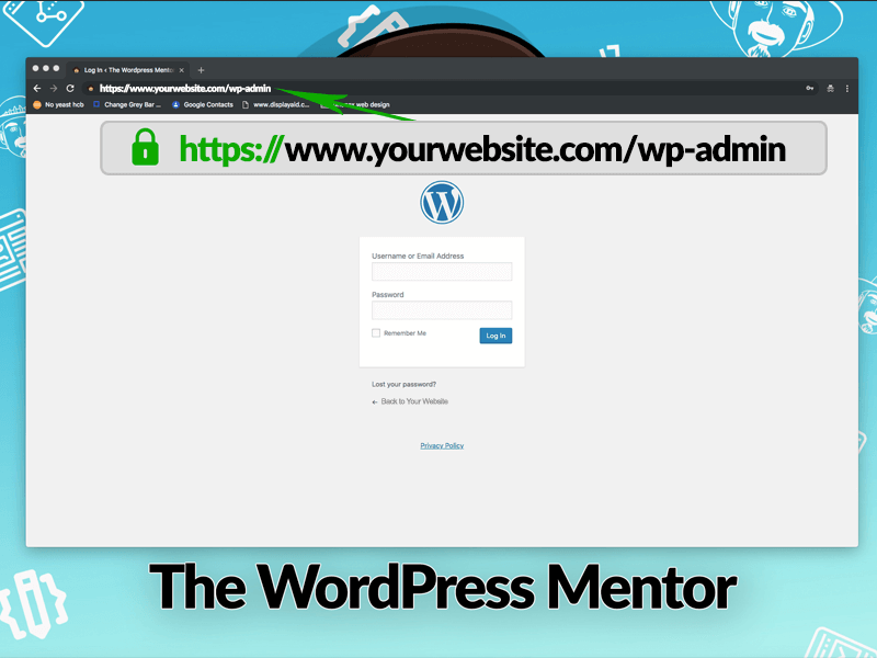image showing the wordpress login page accessed via www.yourwebsite.com/wp-admin