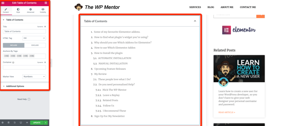 A screnshot of the table of contents elementor widget
