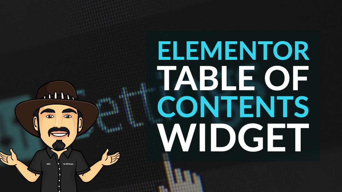 Table of contents Elementor widget
