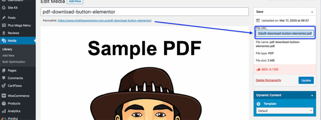 This image shows how to get the pdf link for the PDF Download Button using Elementor post