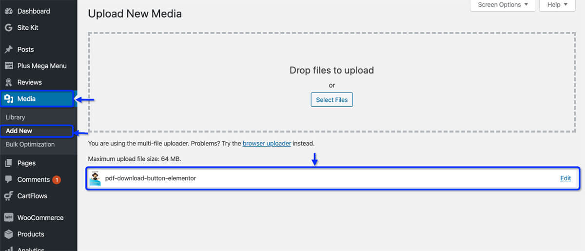 This image shows how to upload the pdf for the PDF Download Button using Elementor post